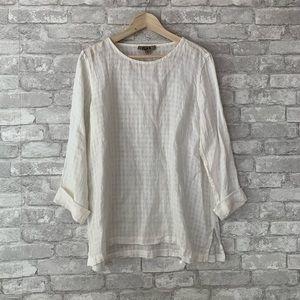 Flax white linen textured tunic